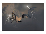 Dragons Air Battle & Lightning Prints