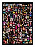 Mixed Emoticon Symbol Collage Art