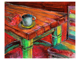 Cafe Table with Cup & Flowers Posters