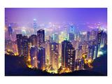 Hong Kong Skyline at Night Poster