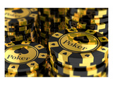 Group of Gold Poker Chips Prints