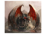 Gigantic Fire Dragon & Castle Print