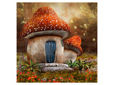 Smurfs Mushroom Meadow Cottage Art