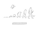 The Beginning of Nostalgia -- The ascent of man with the homo samien looki... - New Yorker Cartoon Premium Giclee Print by Liana Finck