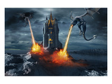 Two Dragons Attacking a Castle Wydruk giclee premium