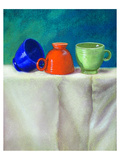 Blue Orangegreen Retro Teacups Poster
