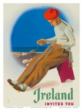 Ireland Invites You - Irishman Weaving Crios Cord Belt Poster by Guus Melai