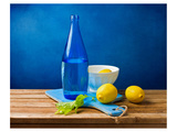 Lemons and Bottle Still Life Poster