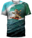 Pizza Surfing Cat T-Shirts
