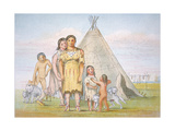 A Comanche Family Outside their Teepee, 1841 Giclee Print by George Catlin