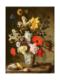 Floral Study with Beaker, Grasshopper and Seashells Giclee Print by Balthasar van der Ast