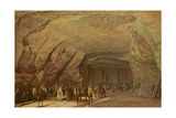 Entrance and Interior of a Cave Used as a Warehouse for Salt in Dieppedalle, C.1798 Giclee Print by Jean-Pierre Houel