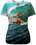 Women's: Surfs Up Pizza Cat Damen-T-Shirts mit Sublimationsdruck
