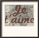 Je Taime - Paris, France, Vintage Map Framed Giclee Print