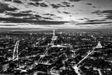 Paris, France Skyline, Panorama at Sunset, Young Night. View on Eiffel Tower in Black and White Photographic Print by PHOTOCREO Michal Bednarek