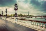 Pont Alexandre III Bridge in Paris, France. Seine River and Eiffel Tower. Vintage Lámina fotográfica por Michal Bednarek