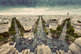 Paris Skyline - Avenue Des Champs-Elysees. View from Arc De Triomphe, Paris, France. Vintage, Retro Photographic Print by PHOTOCREO Michal Bednarek