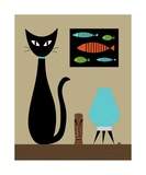 Cat on Tabletop with Turquoise Lamp Photographic Print by Donna Mibus