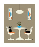 Knoll Table with Cats Photographic Print by Donna Mibus
