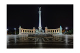 Heroes Square At Night In Budapest, Hungary Photographic Print by George Oze