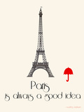 Paris Travel Poster With Eiffel Tower Photographic Print by Jan Weiss