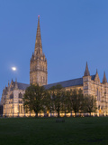 Salisbury Cathedral At Dusk With Moon Photographic Print by Charles Bowman
