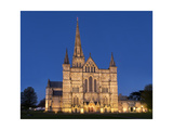 Salisbury Cathedral At Dusk Photographic Print by Charles Bowman