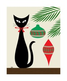 Holiday Cat on Cream Photographic Print by Donna Mibus