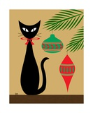 Holiday Cat on Tan Photographic Print by Donna Mibus