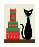 Holiday Cat 2 on Cream Photographic Print by Donna Mibus