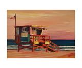 Santa Monica California Baywatch Beachhouse Scene Giclee Print by Markus Bleichner