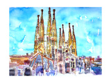 Sagrada Famila in Barcelona with Blue Sky Prints by Markus Bleichner