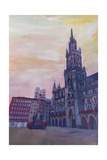 Munich City Hall and St Marys Place Giclee Print by Markus Bleichner