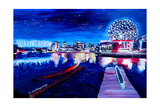 Vancouver Skyline At Starry Night Giclee Print by Martina Bleichner