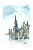 Munich City Hall with Church of Our Lady Giclee Print by Markus Bleichner