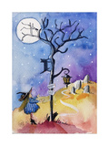 Halloween Graveyard Black Cat Keep Out Poster by sylvia pimental