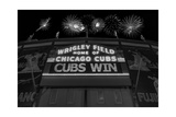 Chicago Cubs Win Fireworks Night BW Reproduction photographique par Steve Gadomski