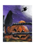 Black Cat in Pumpkin Patch Halloween Posters by sylvia pimental