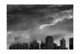 Chicago Skyline Storm BW Photographic Print by Steve Gadomski