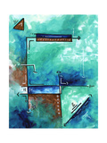 Blue Aqua Brown Abstract PoP Art Posters by Megan Aroon Duncanson