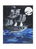 Ghost Ship Skull & Cross Bones Halloween Print by sylvia pimental