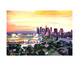 Los Angeles Dodgers Stadium At Sunset Giclee Print by Markus Bleichner