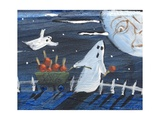 Moon Face Ghosts on Halloween Photographic Print by sylvia pimental