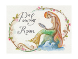 Watercolor Powder Room Mermaid with Looking Glass Photographic Print by sylvia pimental