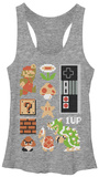 Juniors Tank Top: Super Mario- Retro Set Camiseta sin mangas