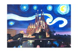 Starry Night Barcelona - Van Gogh Sagrada Familia Reproduction procédé giclée par Markus Bleichner