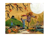 Making A Scarecrow Autumn Season Photographic Print by sylvia pimental