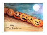 Five Pumpkins in a Row Halloween Papier Photo par sylvia pimental