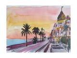 Nice France Seaview Boulevard at Sunset Giclee Print by Markus Bleichner