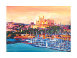Spain Balearic Islands Majorca Cathedral w Harbour Giclee Print by Markus Bleichner